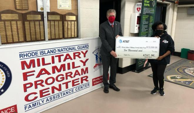 Lt. Governor McKee Accepts AT&T's $10,000 Donation to the Rhode Island Military Family Relief Fund