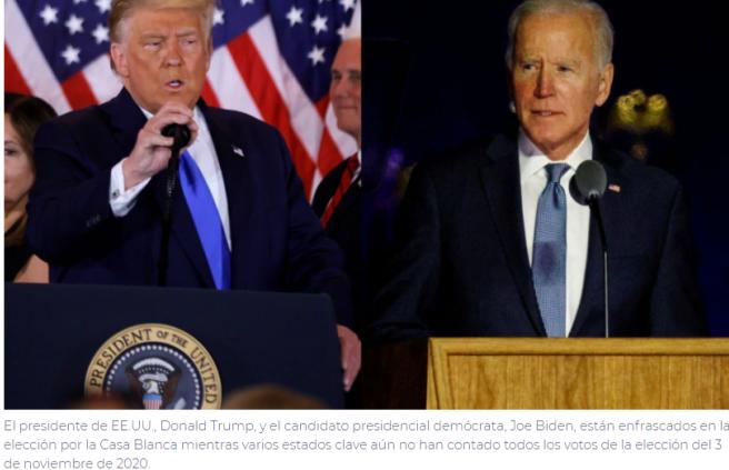 Trump y Biden en reñida competencia por la presidencia de EE.UU.