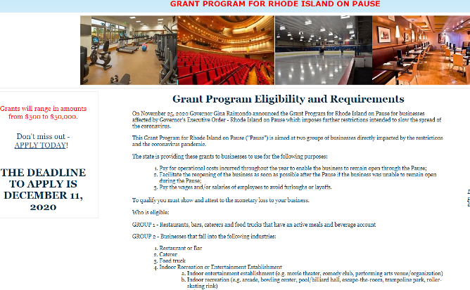 Online application now available for R.I. grant program