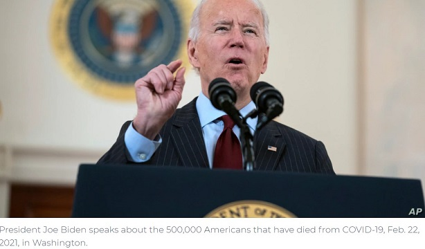 Biden Laments 500,000 Coronavirus Deaths in US