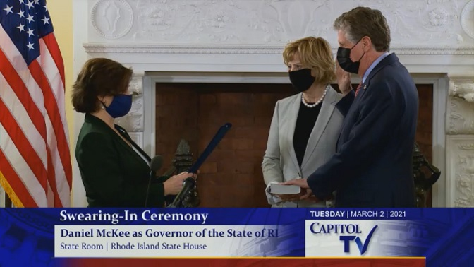 Pictures of Governor Dan McKee sworn in as the 76th Governor of Rhode Island