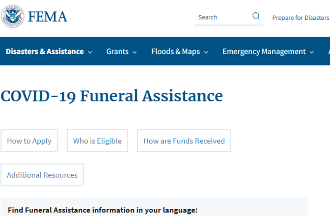 FEMA Provides Funeral Assistance Support to Those Who Have Lost Loved Ones